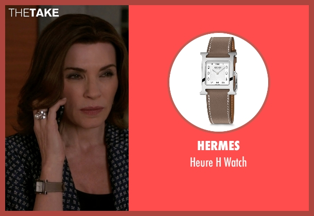 Hermes brown watch from The Good Wife seen with Alicia Florrick (Julianna Margulies)