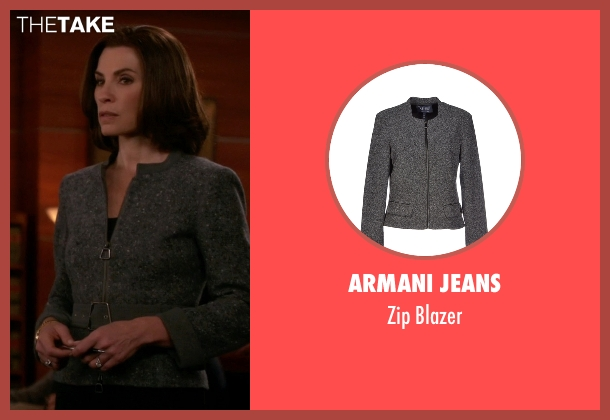 Armani Jeans gray blazer from The Good Wife seen with Alicia Florrick (Julianna Margulies)