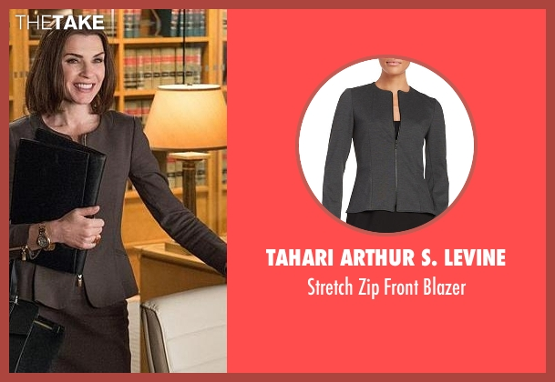 Tahari Arthur S. Levine gray blazer from The Good Wife seen with Alicia Florrick (Julianna Margulies)
