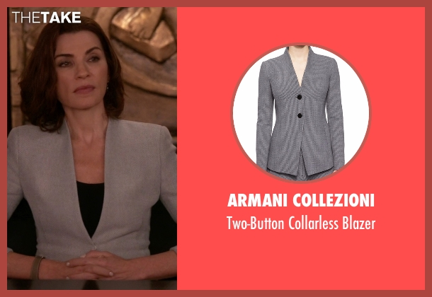 Armani Collezioni gray blazer from The Good Wife seen with Alicia Florrick (Julianna Margulies)