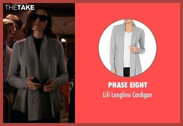 Phase Eight gray cardigan from The Good Wife seen with Alicia Florrick (Julianna Margulies)