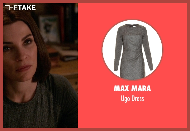 Max Mara gray dress from The Good Wife seen with Alicia Florrick (Julianna Margulies)