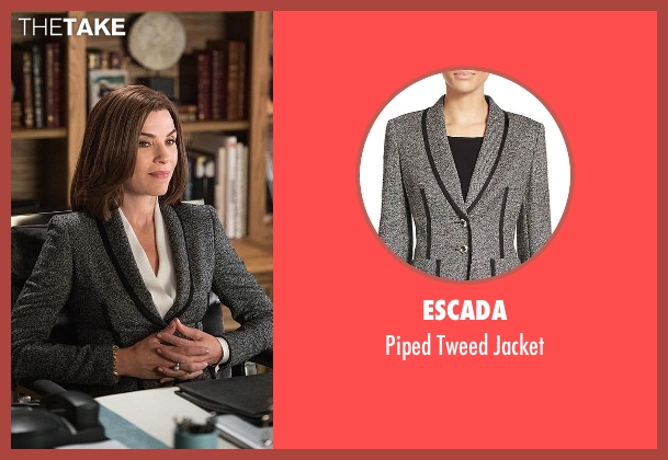 Escada gray jacket from The Good Wife seen with Alicia Florrick (Julianna Margulies)