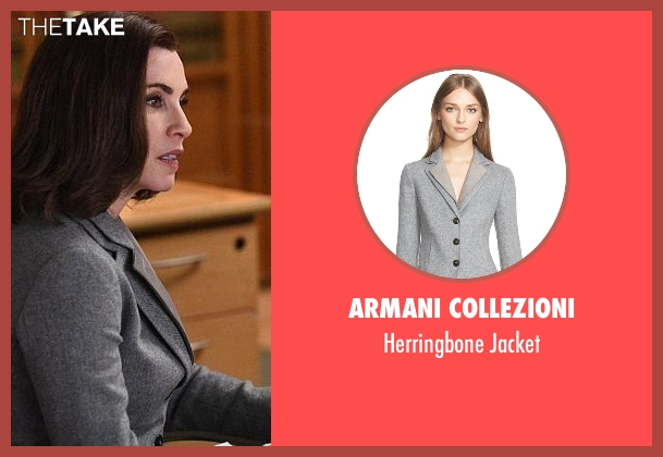 Armani Collezioni gray jacket from The Good Wife seen with Alicia Florrick (Julianna Margulies)