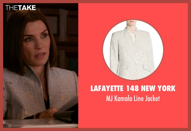 Lafayette 148 New York  gray jacket from The Good Wife seen with Alicia Florrick (Julianna Margulies)