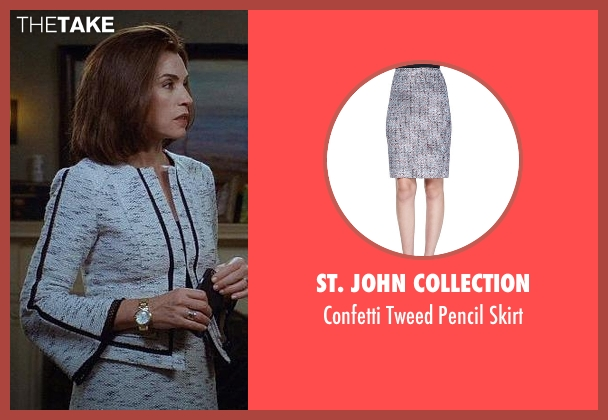 St. John Collection gray skirt from The Good Wife seen with Alicia Florrick (Julianna Margulies)