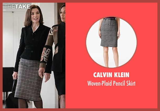 Calvin Klein gray skirt from The Good Wife seen with Alicia Florrick (Julianna Margulies)