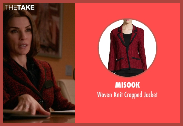 Misook red jacket from The Good Wife seen with Alicia Florrick (Julianna Margulies)