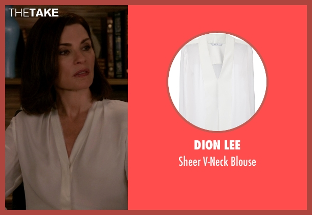 Dion Lee white blouse from The Good Wife seen with Alicia Florrick (Julianna Margulies)