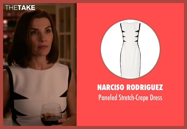 Narciso Rodriguez white dress from The Good Wife seen with Alicia Florrick (Julianna Margulies)