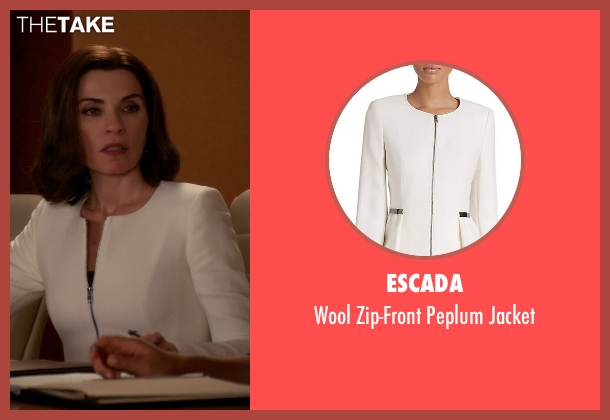 Escada white jacket from The Good Wife seen with Alicia Florrick (Julianna Margulies)