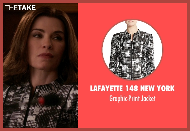 Lafayette 148 New York white jacket from The Good Wife seen with Alicia Florrick (Julianna Margulies)