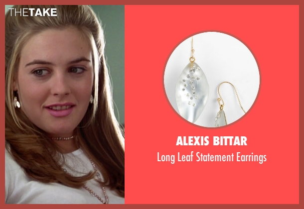 Alexis Bittar silver earrings from Clueless seen with Alicia Silverstone (Cher)