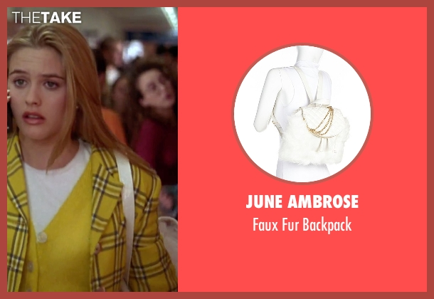 June Ambrose white backpack from Clueless seen with Alicia Silverstone (Cher)