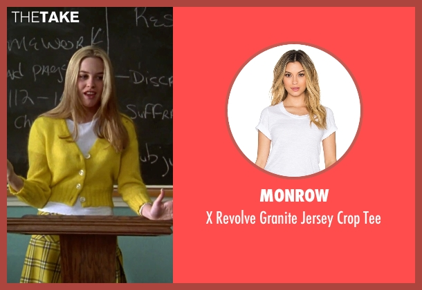 Monrow white tee from Clueless seen with Alicia Silverstone (Cher)