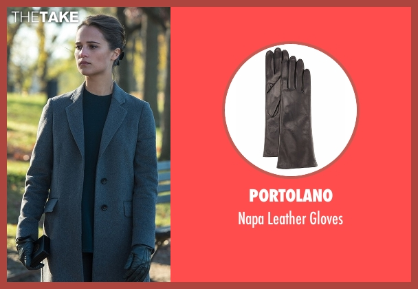 Portolano black gloves from Jason Bourne seen with Alicia Vikander (Heather Lee)