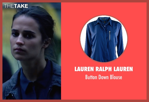 Lauren Ralph Lauren blue blouse from Jason Bourne seen with Alicia Vikander (Heather Lee)
