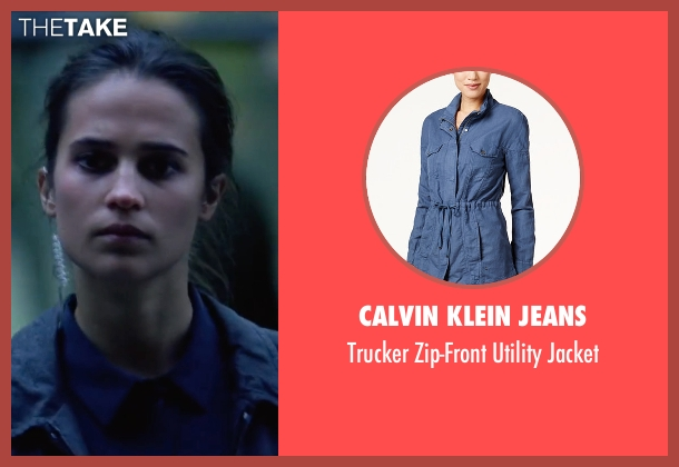 Calvin Klein Jeans blue jacket from Jason Bourne seen with Alicia Vikander (Heather Lee)