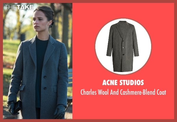 Eleventy gray coat from Jason Bourne seen with Alicia Vikander (Heather Lee)
