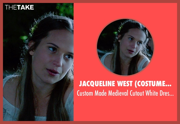 Jacqueline West (Costume Designer) white dress from Seventh Son seen with Alicia Vikander (Alice)
