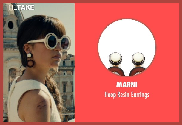 Marni black earrings from The Man from U.N.C.L.E. seen with Alicia Vikander (Gaby Teller)