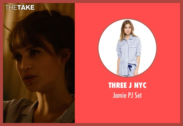 Three J NYC blue set from The Man from U.N.C.L.E. seen with Alicia Vikander (Gaby Teller)