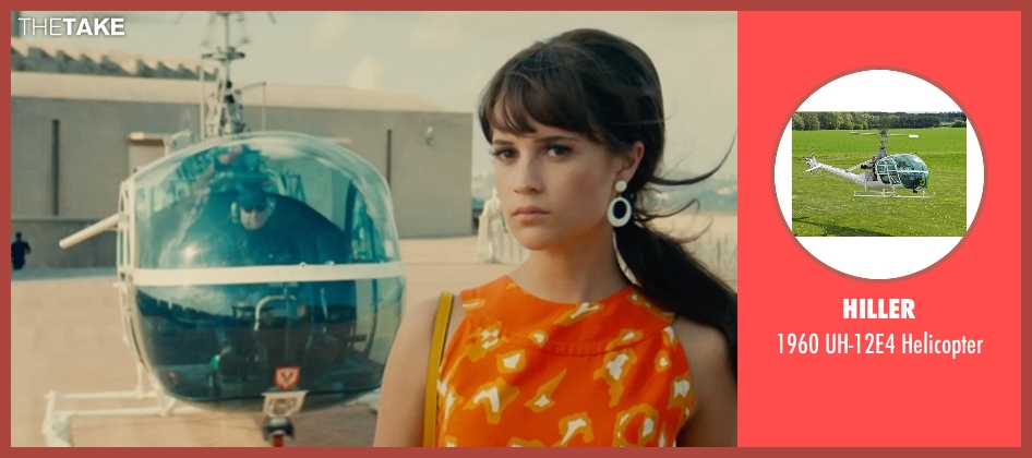Hiller helicopter from The Man from U.N.C.L.E. seen with Alicia Vikander (Gaby Teller)