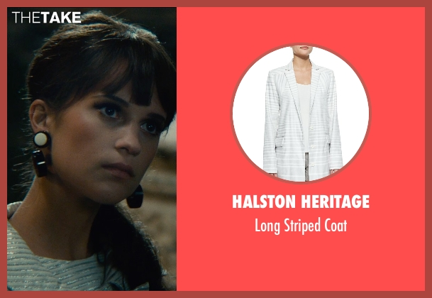 Halston Heritage white coat from The Man from U.N.C.L.E. seen with Alicia Vikander (Gaby Teller)