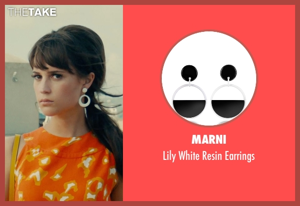 Marni white earrings from The Man from U.N.C.L.E. seen with Alicia Vikander (Gaby Teller)
