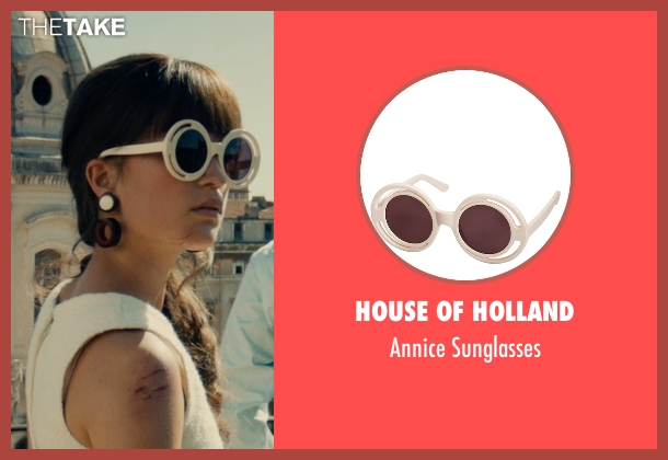 House of Holland white sunglasses from The Man from U.N.C.L.E. seen with Alicia Vikander (Gaby Teller)
