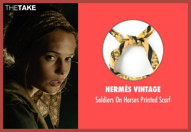 Hermès Vintage yellow scarf from The Man from U.N.C.L.E. seen with Alicia Vikander (Gaby Teller)