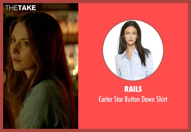Rails blue shirt from Sleeping with Other People seen with Alison Brie (Lainey)