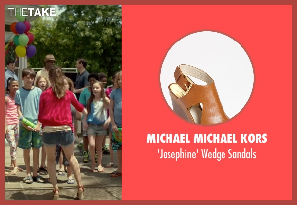 Michael Michael Kors brown sandals from Sleeping with Other People seen with Alison Brie (Lainey)