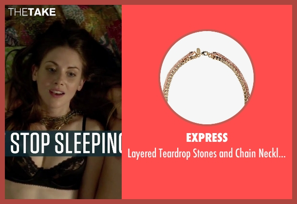 Express gold necklace from Sleeping with Other People seen with Alison Brie (Lainey)