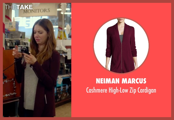 Neiman Marcus purple cardigan from Sleeping with Other People seen with Alison Brie (Lainey)