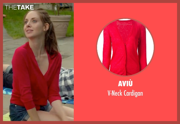 Aviù red cardigan from Sleeping with Other People seen with Alison Brie (Lainey)