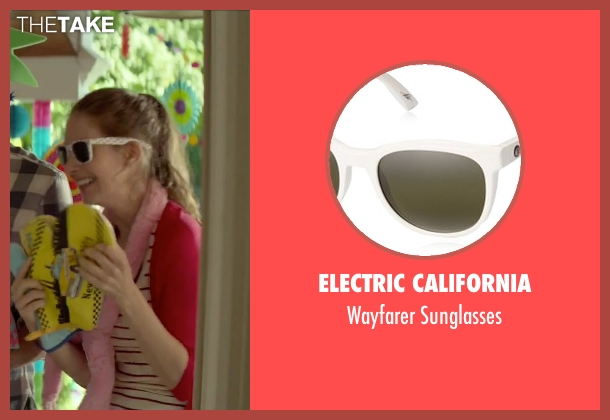 Electric California white sunglasses from Sleeping with Other People seen with Alison Brie (Lainey)