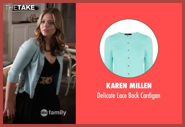 Karen Millen blue cardigan from Pretty Little Liars seen with Alison DiLaurentis (Sasha Pieterse)