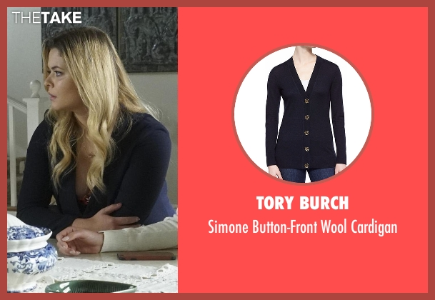 Tory Burch blue cardigan from Pretty Little Liars seen with Alison DiLaurentis (Sasha Pieterse)