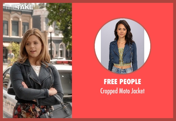 Free People blue jacket from Pretty Little Liars seen with Alison DiLaurentis (Sasha Pieterse)