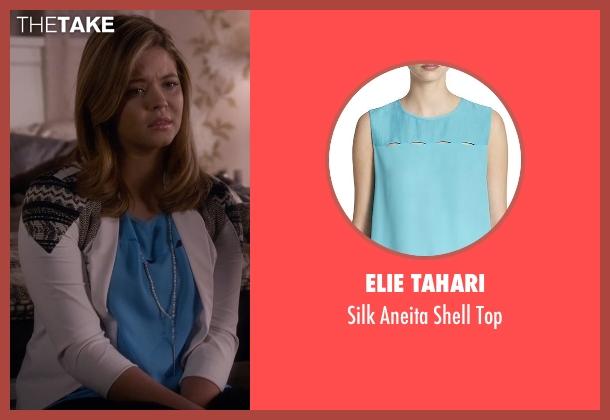 Elie Tahari blue top from Pretty Little Liars seen with Alison DiLaurentis (Sasha Pieterse)