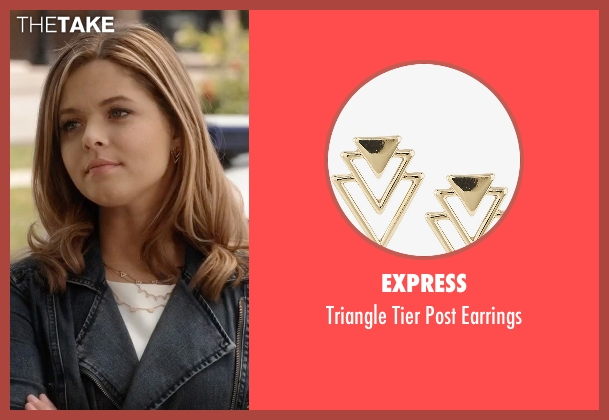 Express gold earrings from Pretty Little Liars seen with Alison DiLaurentis (Sasha Pieterse)