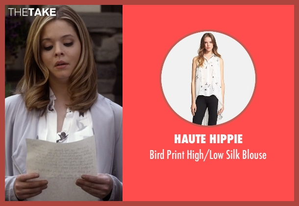 Haute Hippie white blouse from Pretty Little Liars seen with Alison DiLaurentis (Sasha Pieterse)