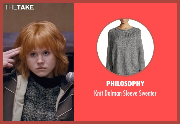 Philosophy gray sweater from Scott Pilgrim Vs. The World seen with Alison Pill (Kim Pine)