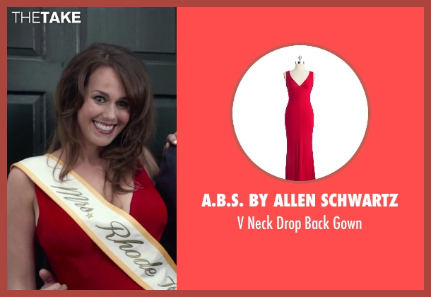A.B.S. By Allen Schwartz red gown from Dumb and Dumber To seen with Allison de Figueiredo Freitas (Trophy Wife / Mrs. Rhode Island)