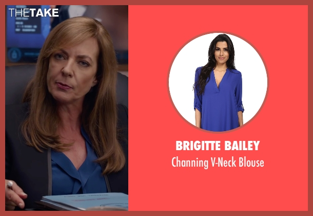 Brigitte Bailey blue blouse from Spy seen with Allison Janney (Elaine Crocker)