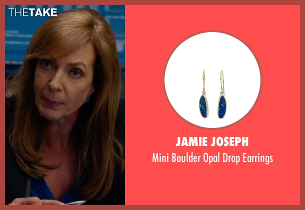 Jamie Joseph blue earrings from Spy seen with Allison Janney (Elaine Crocker)