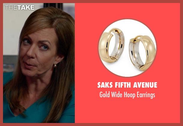 Saks Fifth Avenue gold earrings from Spy seen with Allison Janney (Elaine Crocker)