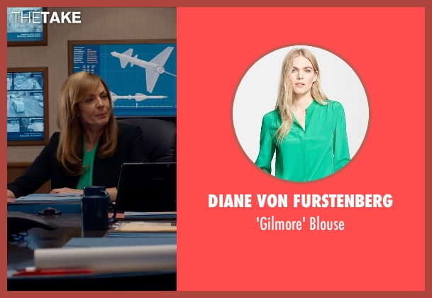 Diane Von Furstenberg green blouse from Spy seen with Allison Janney (Elaine Crocker)