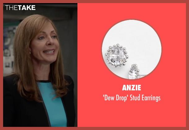 Anzie white earrings from Spy seen with Allison Janney (Elaine Crocker)